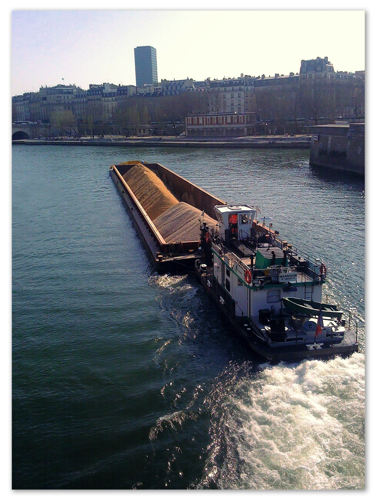 Barge on the Seine between Île Saint-Louis and Île de la Cité