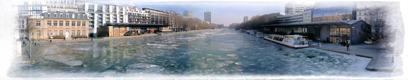 Canal de l'Ourcq frozen, Paris, France, Winter 2011-2012