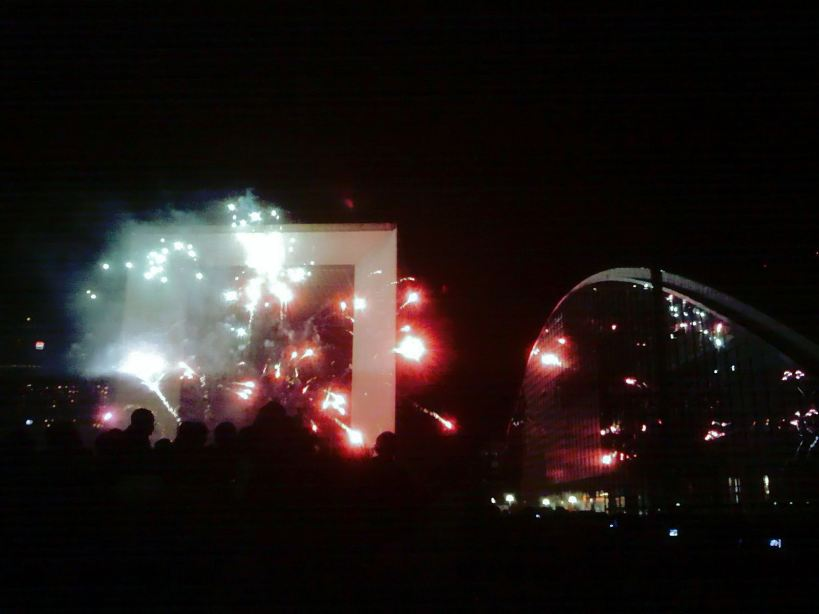 Fireworks at the Grande Arche, La Défense, Paris